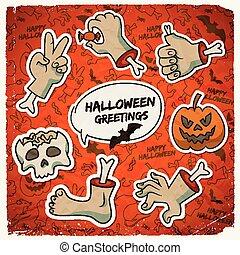 trick, halloween, oder, schablone, behandeln