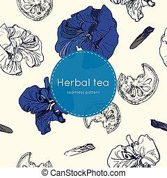 Trocknete Kräuter Thai Tee , nahtlose Muster.