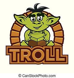 troll, karikatur, maskottchen