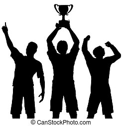 Trophy Gewinner feiern den Sportsieg