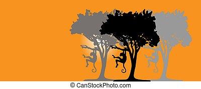 tropische , abbildung, affe, silhouetten