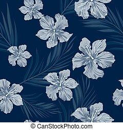Tropischer, nahtloser monochromer blauer Indigo Tarnhintergrund mit Blättern und Blumen.