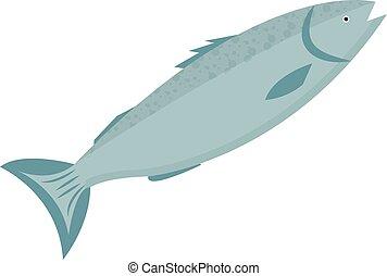 Trout Ikonen flacher Stil. Forelfisch isoliert auf weißem Hintergrund. Vector Illustration, Clip Art.