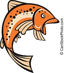 Trout Regenbogenfisch, der Zeichentrickfilm hochspringt.