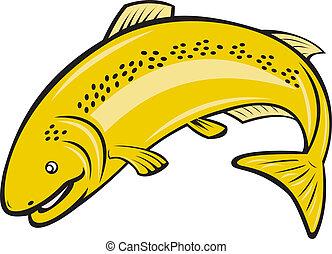Trout Regenbogenfisch springen Cartoon.