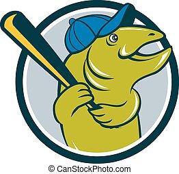 Troutfisch-Baseball-Batting-Kreis Cartoon.