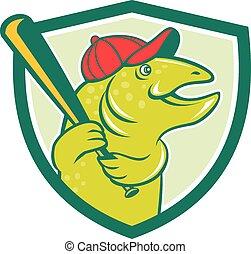 Troutfisch-Baseball-Schlagschild-Cartoon.