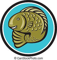 Troutfisch-Jumping-Kreis-Cartoon.