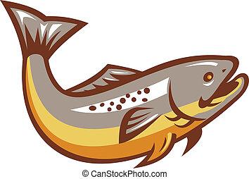 Troutfisch springen Retro.