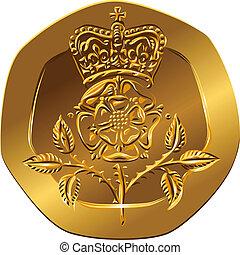 tudor, blume, (rosa, gegenteil, gold, england), geld, pences, -, zwanzig, britisch, gekrönt, rose, emblem, muenze, bild