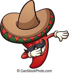 tupfen, mexikanisch, pfeffer, chili