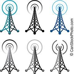 turm, symbole, radio