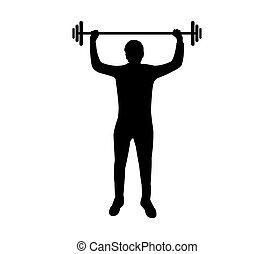 turnhalle, mann, silhouette, gewicht, hand