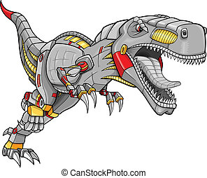 tyrannosaurus, roboter, dinosaurierer, cyborg