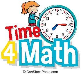 uhr, mathe, groß, wort, kind, zeit, design, schriftart