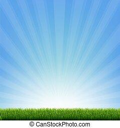 umrandungen, blaues grün, sunburst, gras