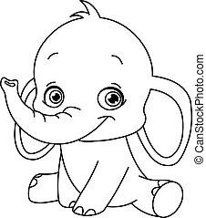 Umrissener Baby-Elefant.