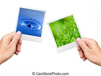 Umweltrezept, Hände halten Naturfotos, Wasser und Pflanzen