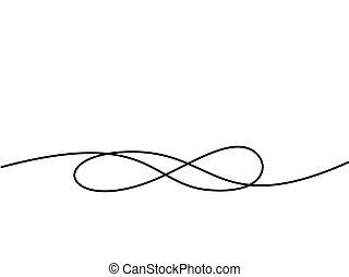 unendlichkeit, zeichnung, symbol., kontinuierlich, linie, ikone