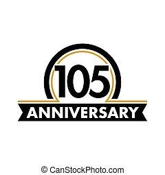 ungewöhnlich, vektor, bogen, hundert, abstrakt, 105th, jubiläum, geburstag, jubilee., fünfter, label., jahre, eins, logo., circle., symbol., 105