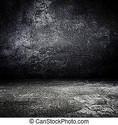 unheimlicher , altes , zimmer, beschaffenheit, beton, grunge