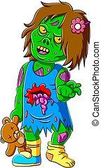 unheimlicher , teddy, zombie, kleines mädchen, besitz, bär