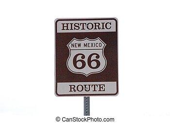 Unterschreiben Sie die historische Route 66.