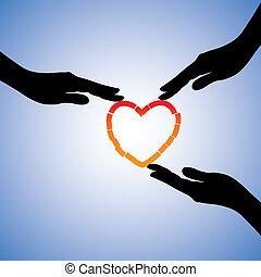 unterstützen, begriff, heart., herz, abbildung, portion, kaputte , grafik, trauma, heilende hände, emotional, wiederfinden, schmerz, shows