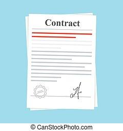 Unterzeichnete Vertrag Vertrag Vertrag Vertrag Icon Agreement. Dokument mit Stempel und Unterschrift. Flat Illustration isoliert auf blauem Hintergrund.