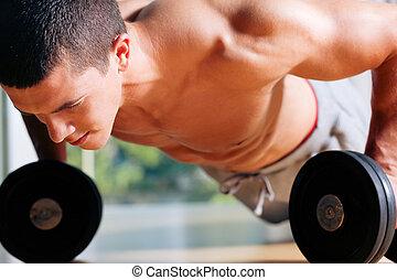 ups, -, mann, schieben, turnhalle, trainieren