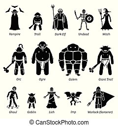 uralt, kreaturen, mittelalterlich, set., übel, fantasie, charaktere, monster, ikone