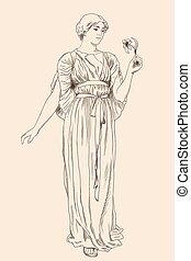 uralt, woman., griechischer