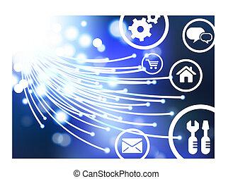 Ursprüngliches optisches Kabel-Internet mit Online-Ikonen und Knöpfen, die AI8 kompatibel sind