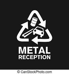 utilization, metall, festempfang, logo, vektor, schrott
