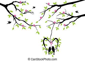 Vögel auf Baum im Herznest, Vektor.