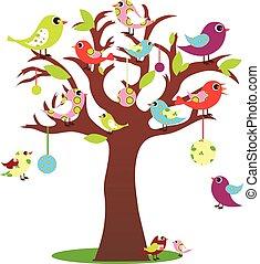 Vögel auf Baum.