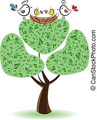 Vögel auf dem Baum mit Nestlingen. Victor Illustration