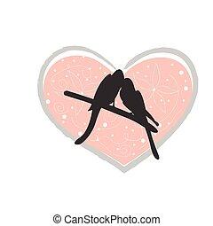 vögel, liebe, reizend, karte, day., abbildung, vektor, valentine, love., vogel, baum