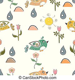 vögel, liebe, reizend, karte, day., vektor, valentine, love., vogel, baum