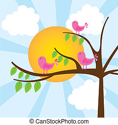 Vögel mit Baum