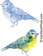 Vögel mit geometrischem Muster.