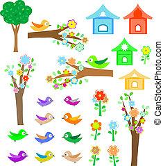 Vögel mit Vogelhäusern, Bäumen