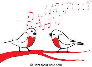 Vögel singen auf dem Ast