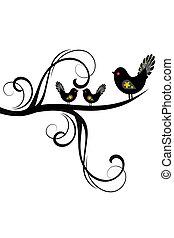 Vögel und Äste Silhouette