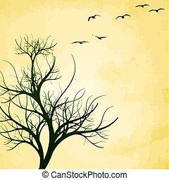 Vögel und Baumvektor