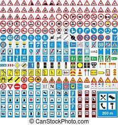 völlig, europäische , verkehr, vektor, editable, drei, hundert, zeichen & schilder