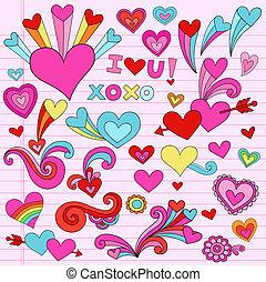 Valentine liebt Herz-Doodles Vektor