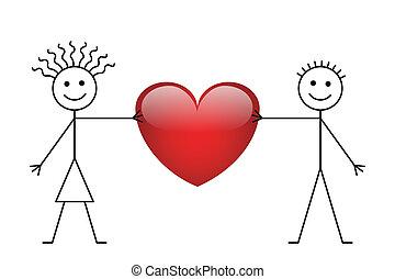 Valentine Stick Boy und Girl