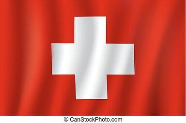 Vector 3D Flagge der Schweiz Nationalsymbol