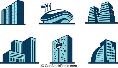 Vector 3d Gebäude Icons gesetzt.